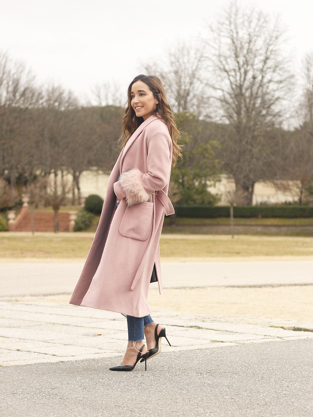 pink coat byleclair carolina herrera heels jeans louis vuitton ba street style outfit 20196