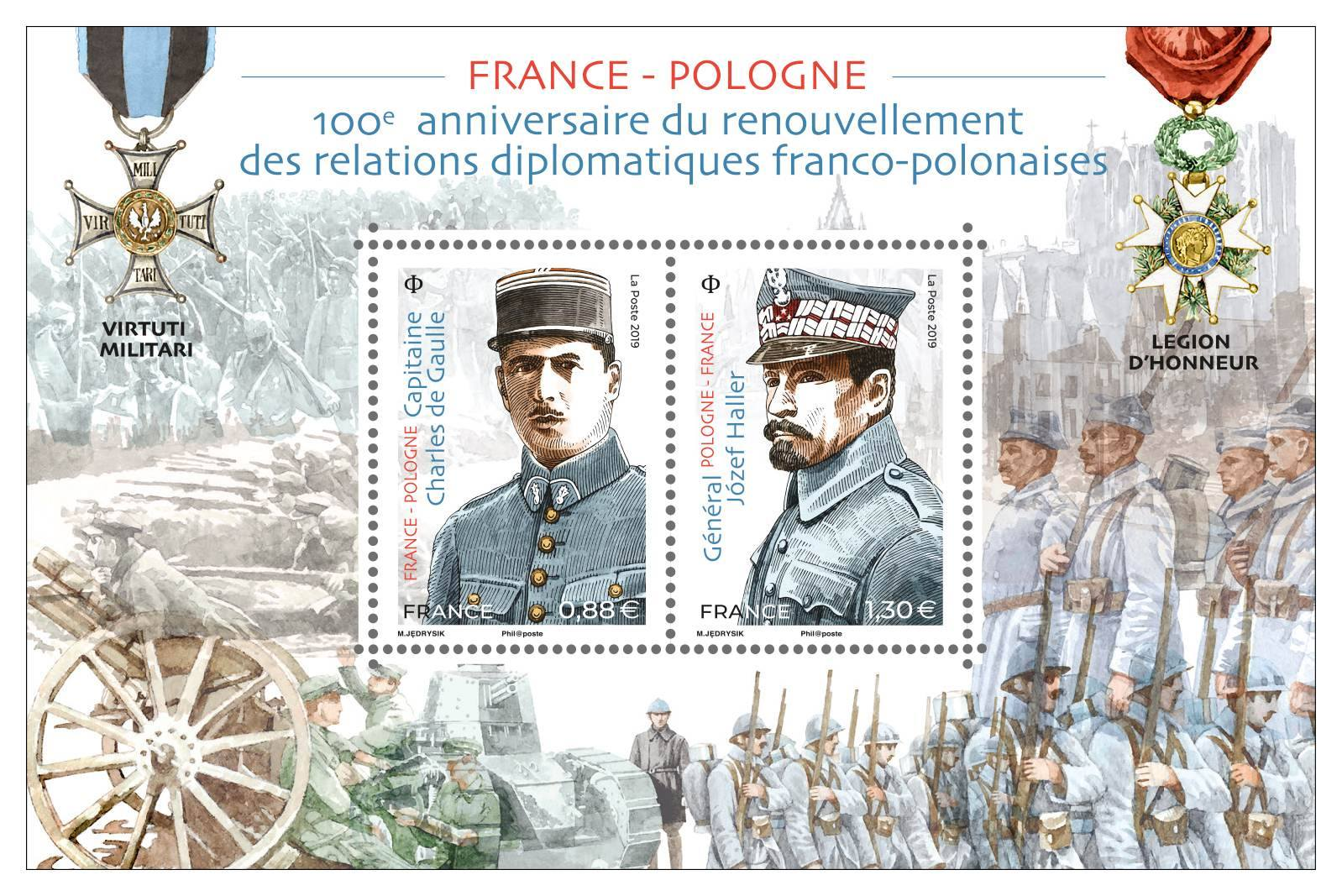 France - 100th Anniversary of French-Polish Diplomatic Relations (April 2, 2019) souvenir sheet of 2
