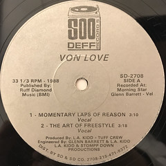 VON LOVE:MOMENTARY LAPS OF REASON(LABEL SIDE-A)