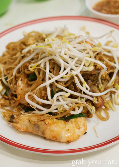 Pad thai with king prawns at the all you can eat prawn and crab buffet at Mojo Restaurant Sydney
