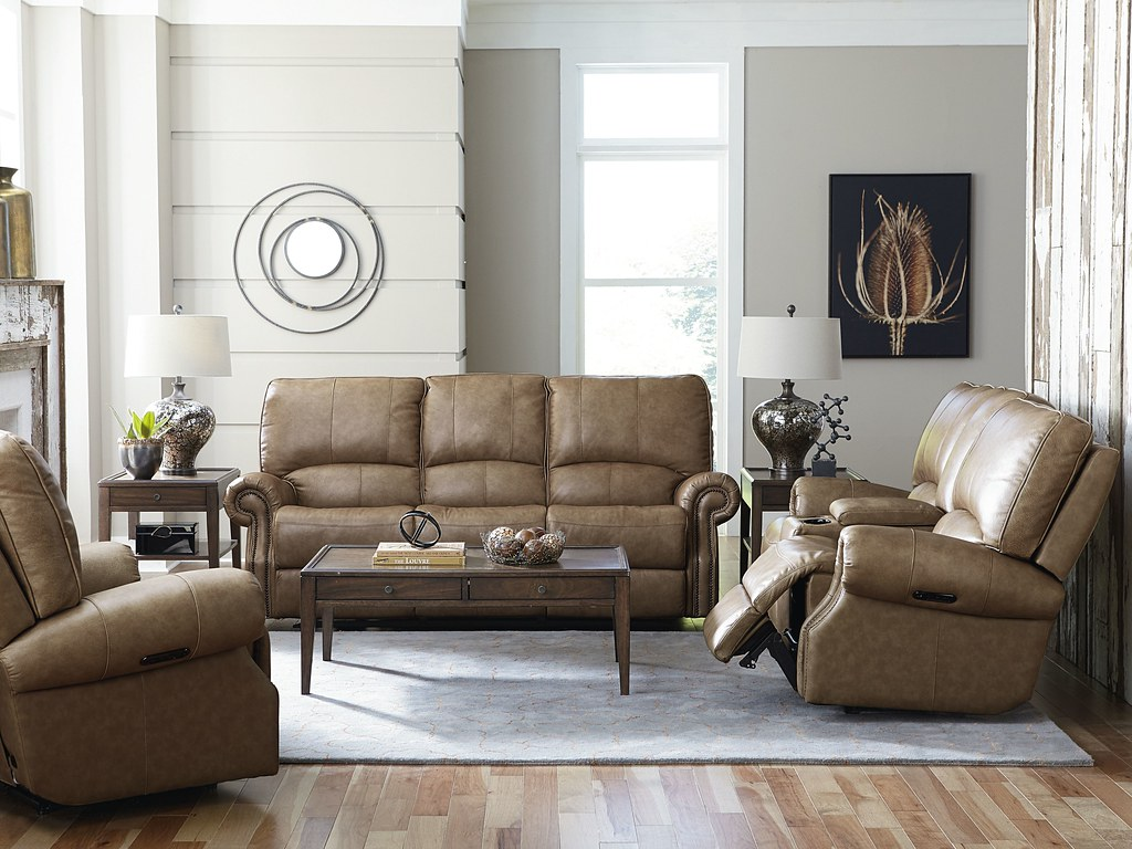 Bassett $1,595 Sofa or Love Seat, $895 Recliner All Full Power Top Grain leather 3719_Prescott_Sofa_Wheat_RS_B