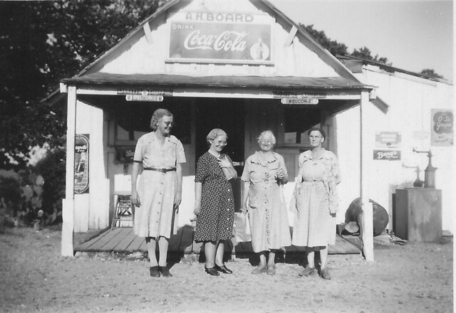 12 Boards Store was a gathering place located on Continental Boulevard at Brumlow Avenue. L-r, Beulah Board, Azzie Hardin, Nannie Webb, and Eula Blevins, familiar names of Old Union community farming families, circa 1940s. Courtesy R.E. Smith