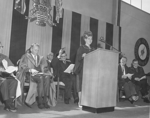 Judy Monk giving the valedictorian speech, 1966.
