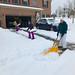 Family shoveling