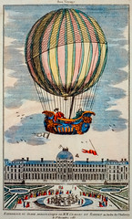 Paris, December 1, 1783: First manned hydrogen balloon launched with Jacque Charles and Marie-Noel aboard a boat-shaped gondola