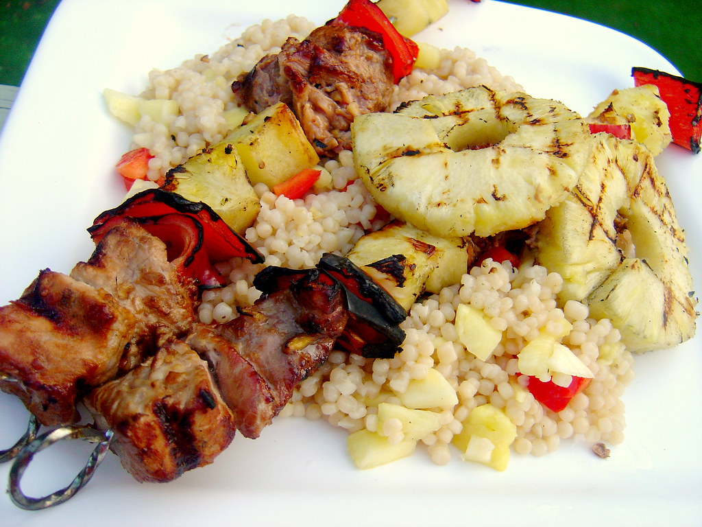 gingered pork pineapple and pepper skewers