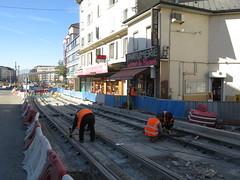 Construction ligne trams Moillesulaz Annemasse (France)