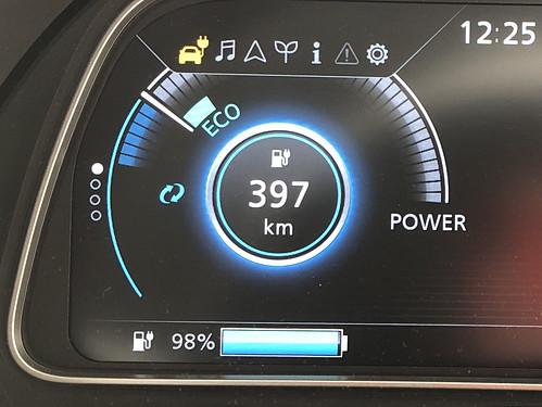 日産グローバル本社出発時 日産リーフe+(62kWh)メーター