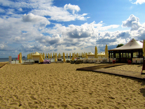 Private beach of Sofitel Grand Hotel in Sopot