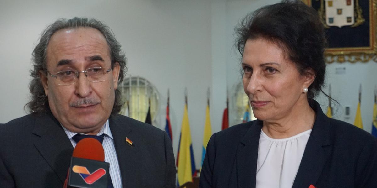 Canciller Arreaza sostiene reunión con Ministra de Estado de la República Árabe de Siria