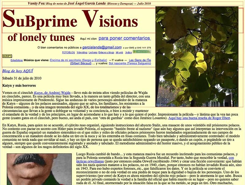 Subprime Visions of Lonely Tunes: Blog de notas de julio de 2010