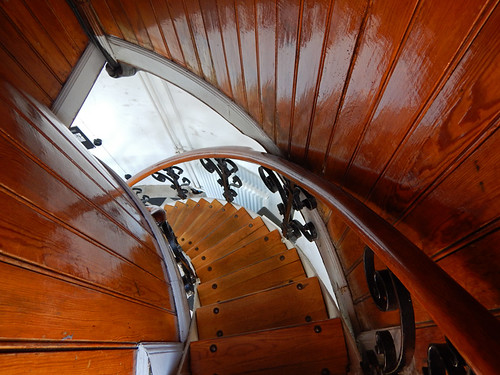 A wood spiral staircase in Kullens Fyr Lighthouse in Denmark