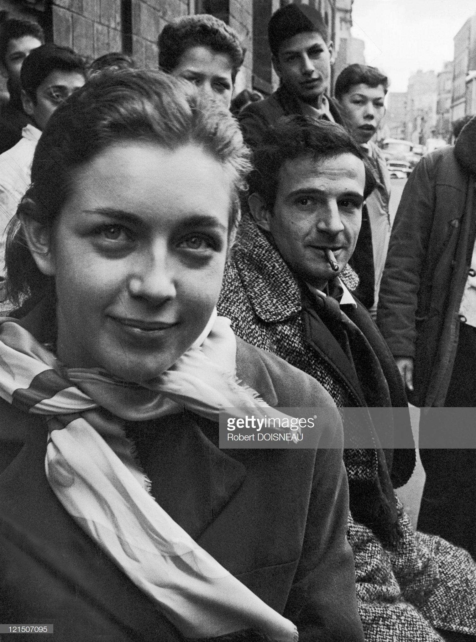 1960. Франсуа Трюффо и Мари Дюбуа на съемках «Стреляйте в пианиста»