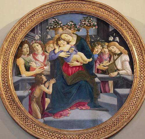 Sandro Botticelli e aiuti (1445-1510) - Madonna col Bambino, San Giovannino Battista e angeli - Galleria Borghese Roma