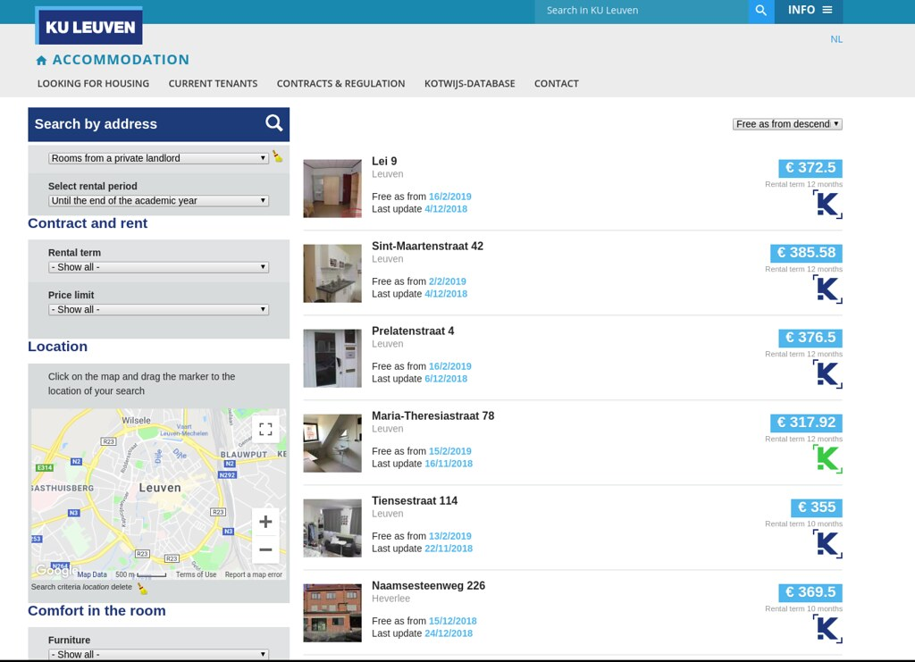 Base de datos de habitaciones - KU Leuven