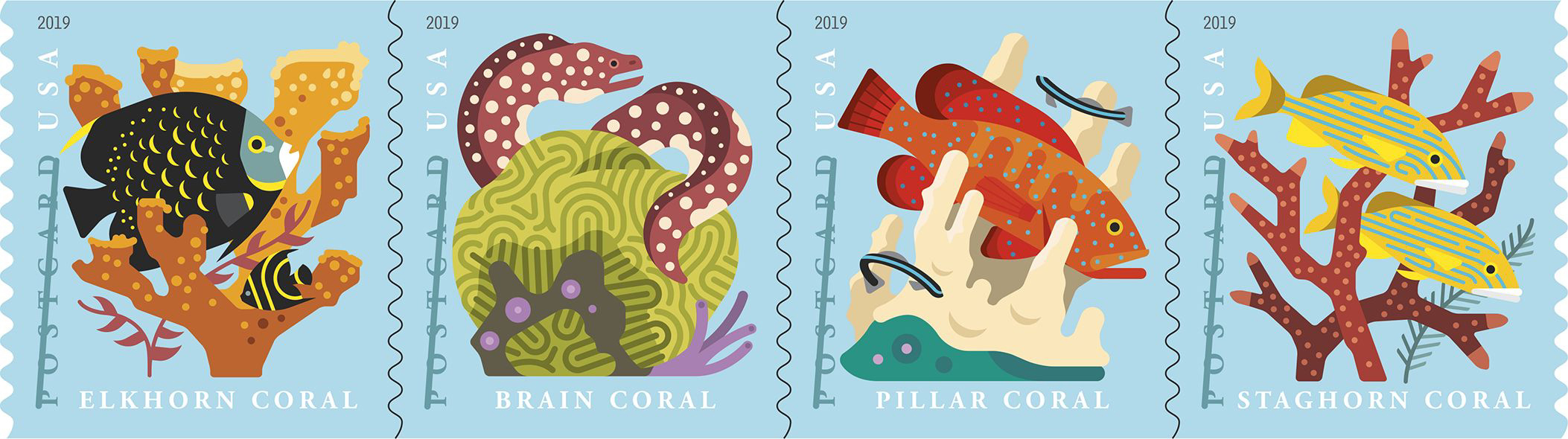 Coral Reefs postcard coil stamps - possibly January 2019