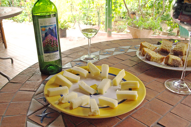 Wine, cheese, and sponge cake at Los Berrazales, Gran Canaria