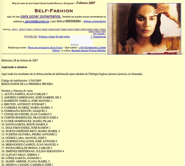 Self-Fashion: Blog de notas de febrero de 2007
