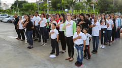 Despacho de la Primera Dama rinde tributo a Padres de la Patria; ilumina edificio con los colores de la Bandera Nacional