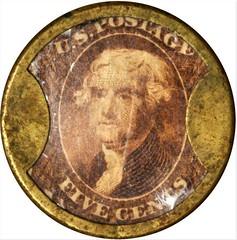 Claflin Five Cents Encased Postage Stamp Obverse