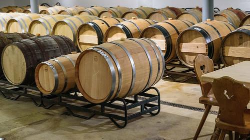 Barrels in the tasting room at Schneider Weisse