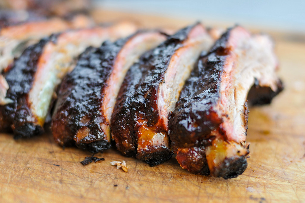 Cherry-sauced and Smoked Ribs