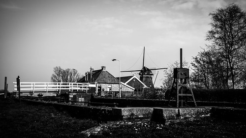 Lock, bridge and windmill