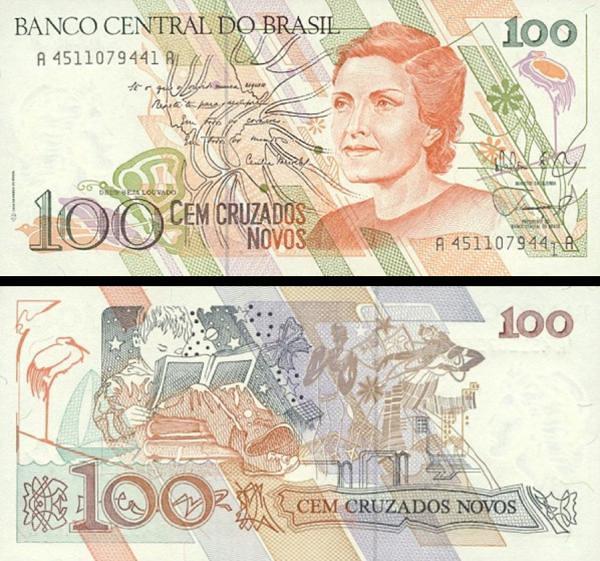 100 cruzados novos Brazília 1989, P220a