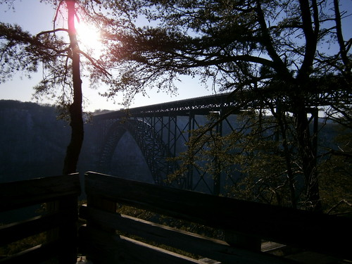 new river gorge overlook bridge highway west virginia valley scenery nature trees scenic trail park view sunset truck