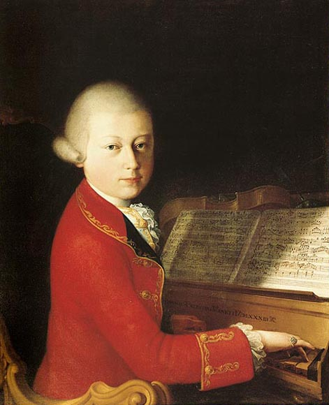 Mozart aged 14 in January 1770. Oil on canvas by Saverio Dalla Rosa. Currently in the private collection of Alfred Cortot, Lausanne.