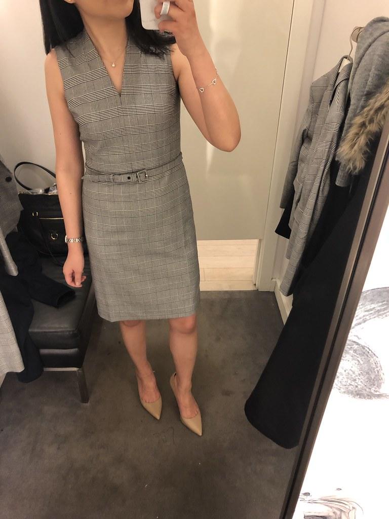 Ann Taylor Glen Plaid Belted Sleeveless Dress, size 00P