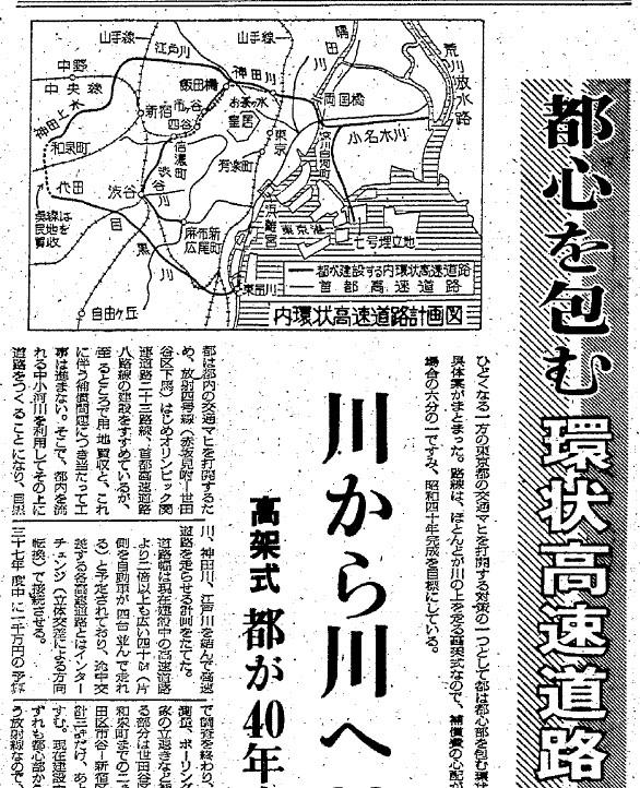 神田上水や渋谷川の上空を走る首都高速道路計画があった
