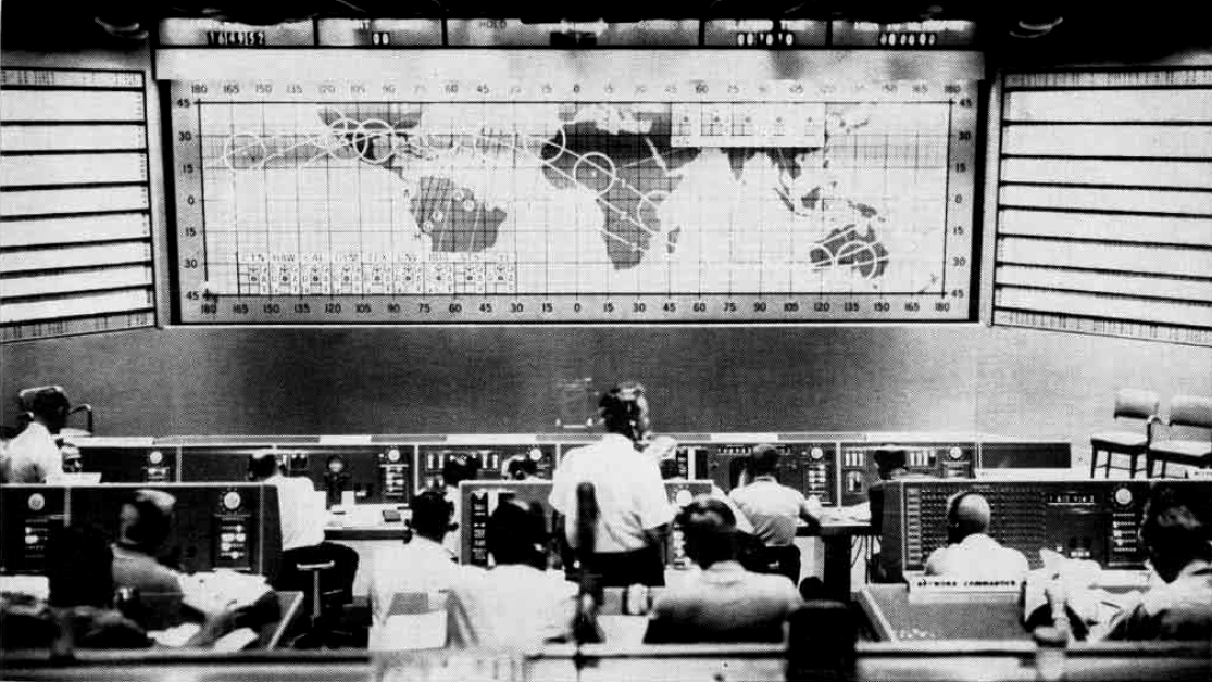 View of Mercury Control at Cape Canaveral Air Force Station, in Florida (USA) during the Mercury-Atlas 6 mission, on February 20, 1962.