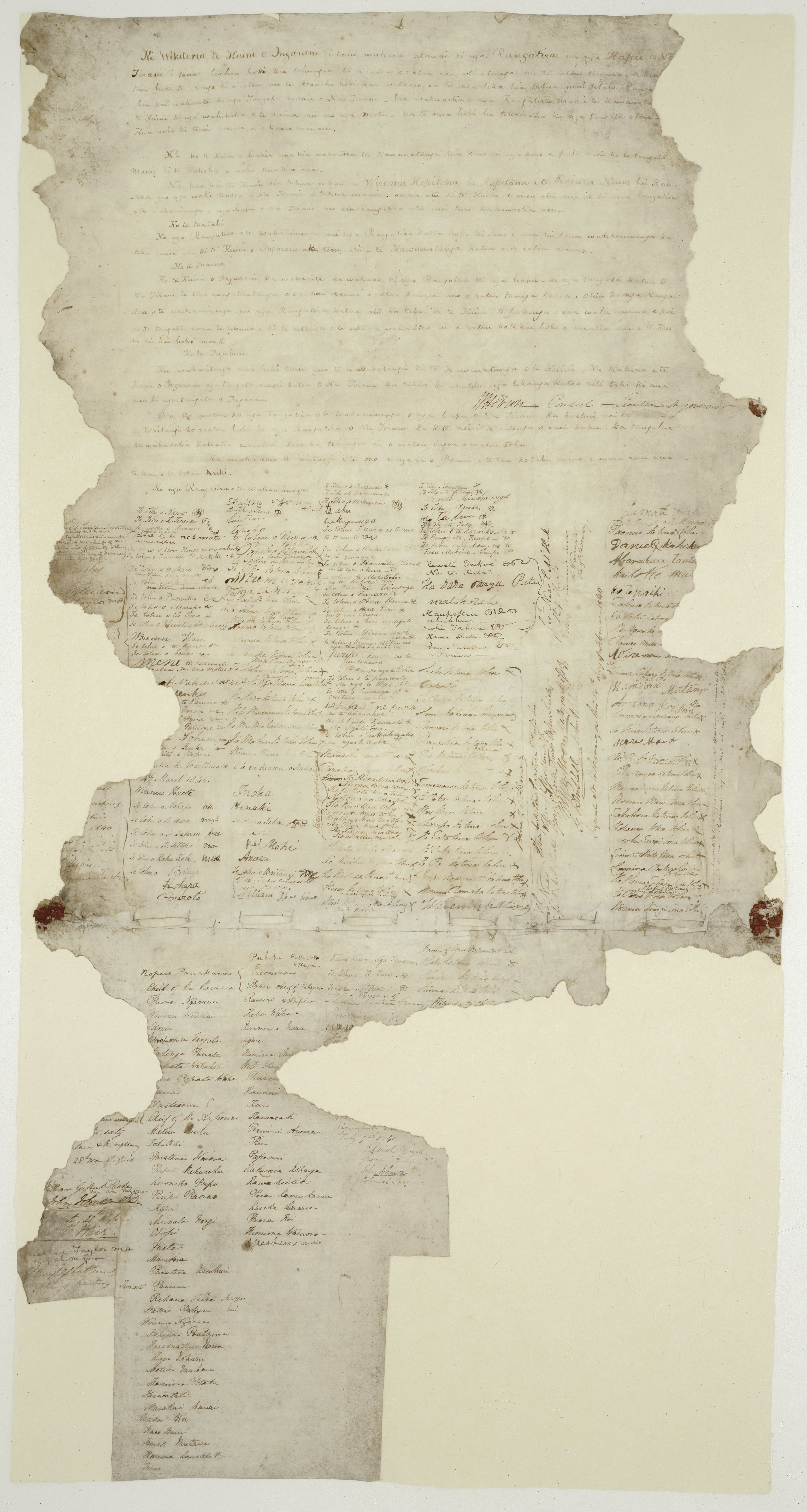 The Waitangi Sheet of the Treaty of Waitangi, signed between the British Crown and various Māori chiefs in 1840.
