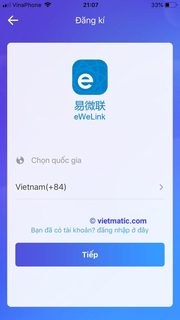 Chọn quốc gia là Vietnam(+84)