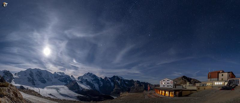 Moon above the glacier