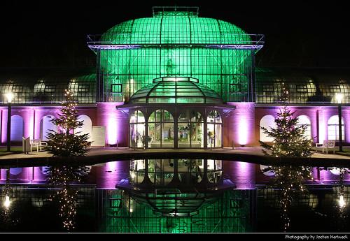 Eingangschauhaus, Winterlichter, Palmengarten, Frankfurt, Germany
