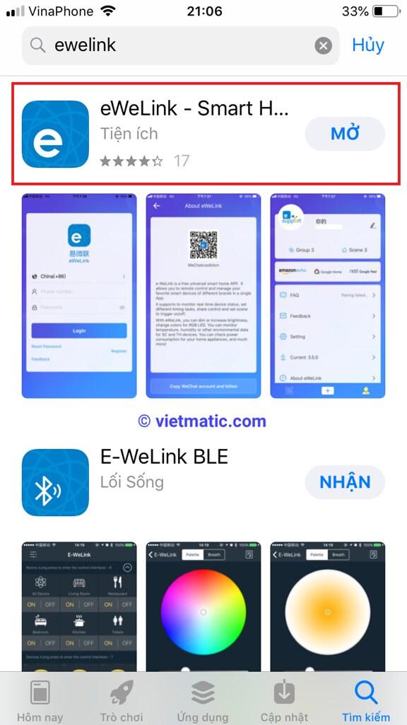 Ứng dụng eWelink trên App Store