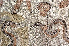 Punishment Mosaic depicting boy with serpents 720X480