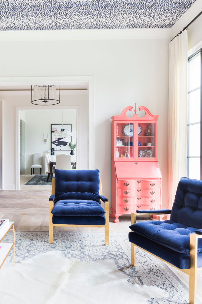 Blue Velvet Accent Chairs Blue Leopard Ceiling How to Decorate with Living Coral Pantone's Color of the Year