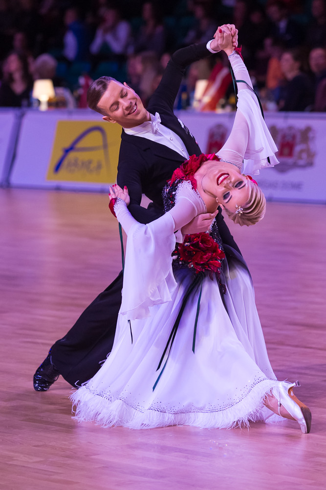 Riga, Latvia- December 15, 2018: Professional Adult Dance Couple Performs Youth Standard European Program on the WDSF Baltic Grand Prix-2108 Championship in December 15, 2018 in Riga