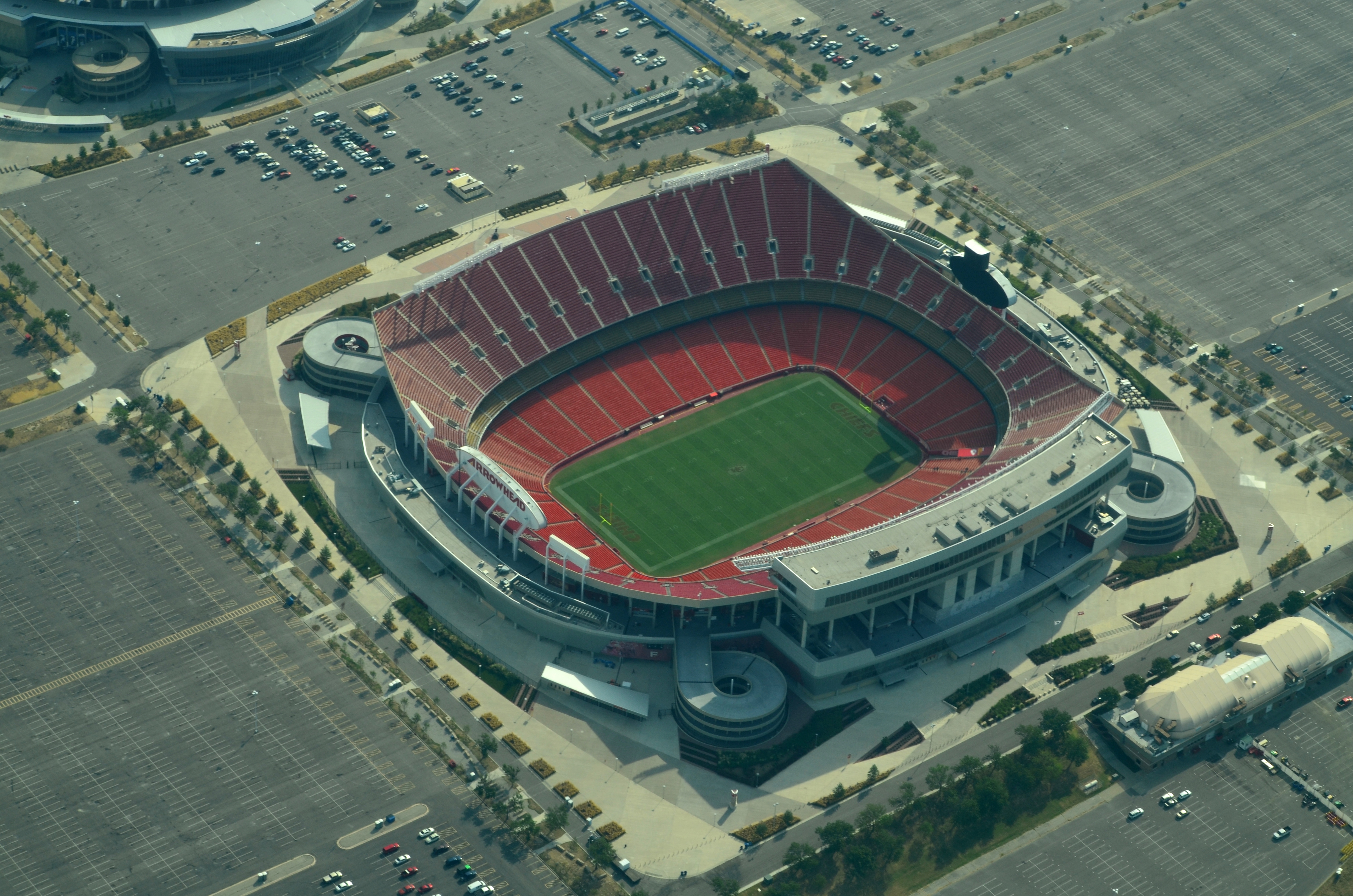 Aerial view of Arrowhead Stadium at the Truman Sports Complex in Kansas City, Missouri, on August 31, 2013.