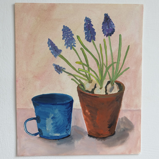 still life with muscari and blue cup