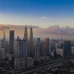 Aerial: Beautiful Tricolor Sunrise in Kuala Lumpur