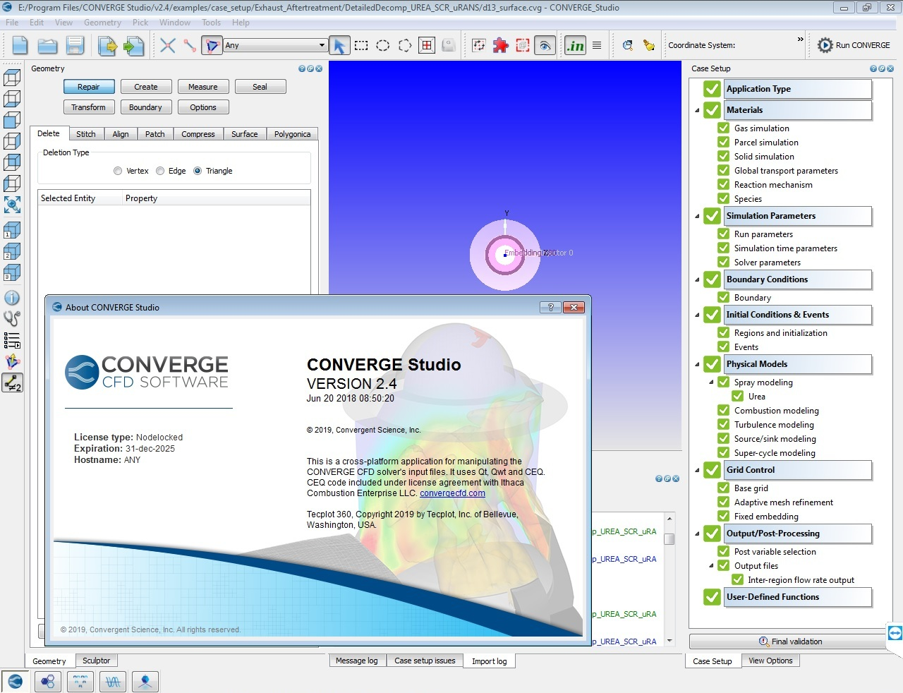 working with CONVERGE 2.4.19 datecode 20.06.2018 full