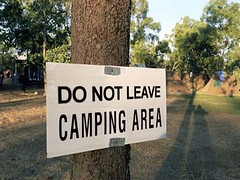 Camp Rule:  Do not leave the camp grounds