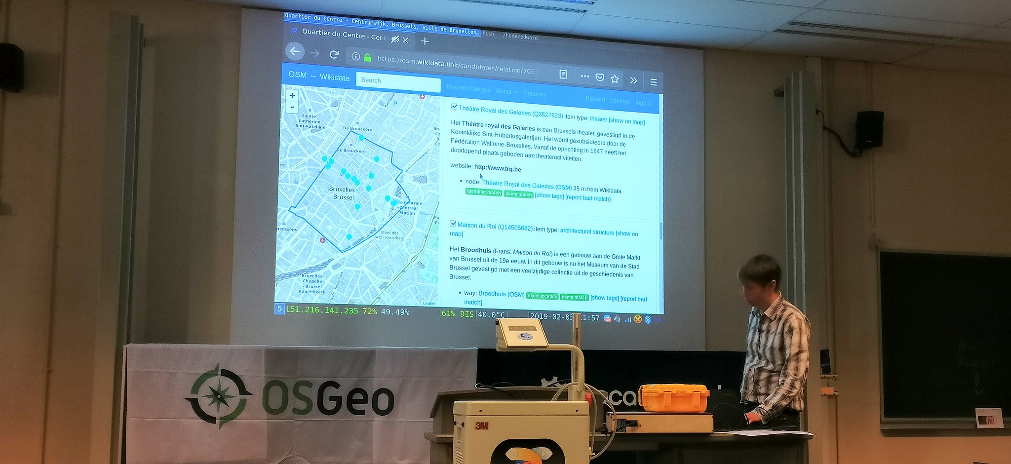 Edward Betts in FOSDEM 2019 presenting his tool to link OpenStreetMap and Wikidata
