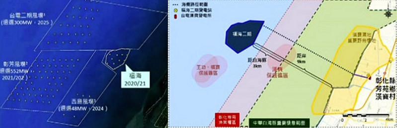 福海二期的鄰近風場的風機設置位置,目前離福海較遠(左)福海二期的海纜預計經彰化漢寶上岸(右)截圖自環評直播。