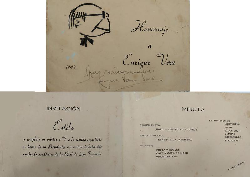 Minuta del homenaje a Enrique Vera en abril de 1949. Colección de Pedro Sánchez-Colorado