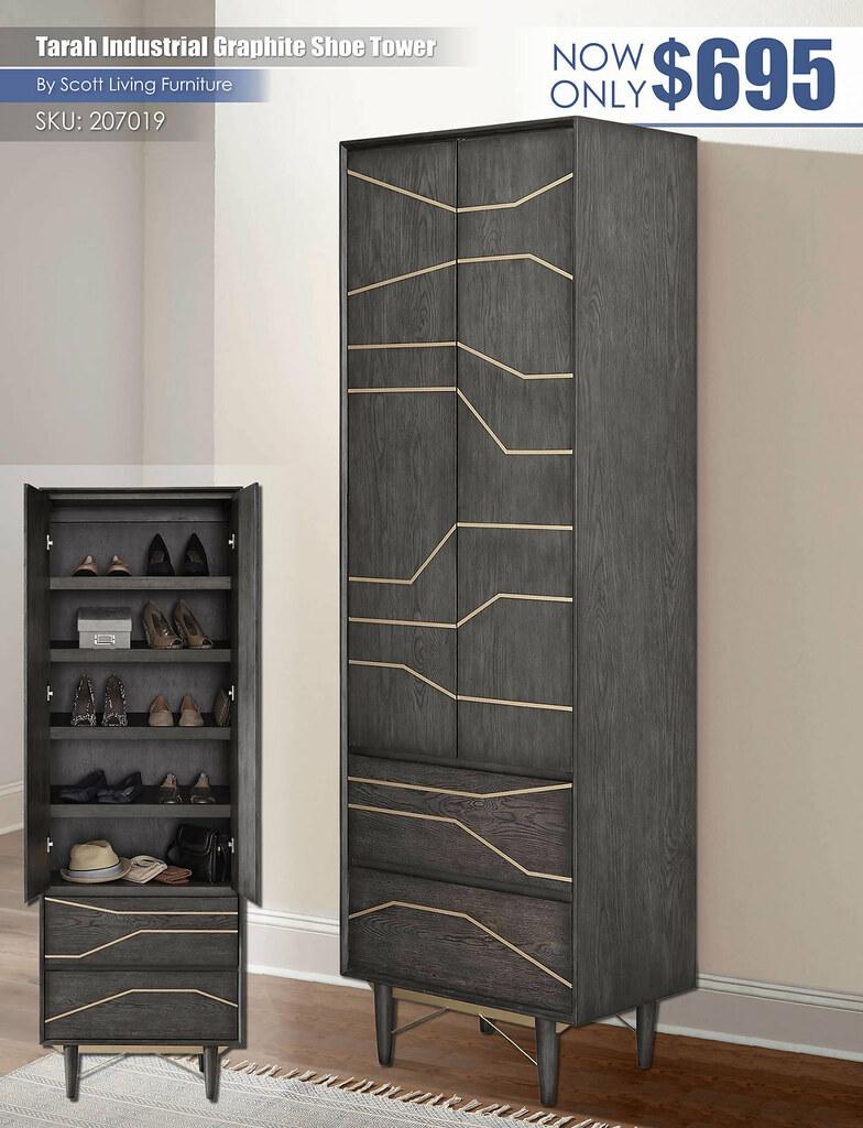 Tarah Industrial Graphite Shoe Tower_Scott Living_207019